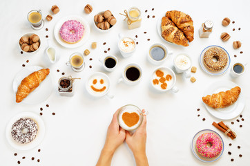 White background with woman's hand and different types of coffee and desserts to them