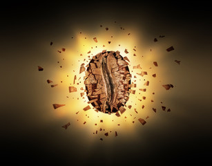 Explosion of coffee bean in the dark
