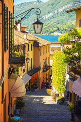 Picturesque and colorful old town street in Italian city of Bellagio