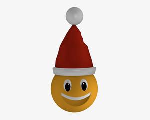 Lachendes Emoticon mit Weihnachtsmütze.