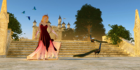 Fairytale Castle - Bluebirds of Happiness fly over castle steps as a young woman shares her day with two Peacock birds.