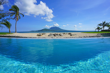 View of the Nevis Peak on Nevis Island across the water from St Kitts