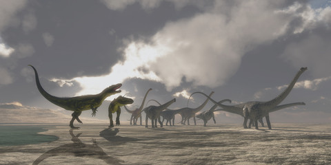 Torvosaurus and Diplodocus Dinosaurs - A Diplodocus dinosaur herd gets very upset as two Torvosaurus dinosaurs kept them from drinking at a watering hole.