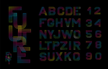 Vector linear font. Alphabet multicolored lines. Simple and minimalist alphabet in mono line style.Digital alphabet