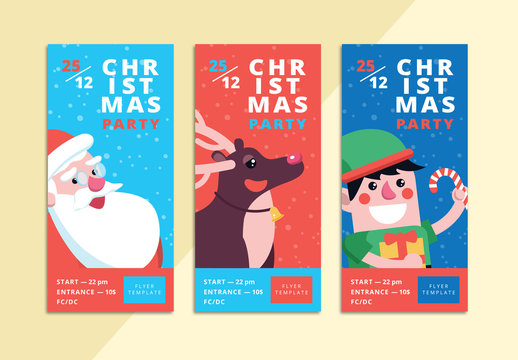 3 Christmas Party Invitation Ticket Layouts