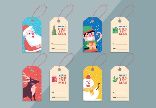4 Christmas Gift Tag Layouts with Festive Illustrations