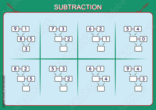 Practice your subtraction 0 to 10, math worksheet for kids\