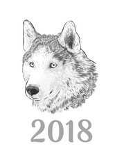 New Year 2018 congratulation card. Husky dog Portrait. Engraving monochrome hand drawing image isolated on white background.