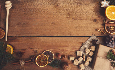Fotobehang Schip Ingredients for mulled wine on wooden board