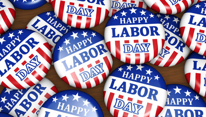 Happy Labor Day USA Badges