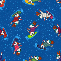 Winter greeting design with dogs in colorful sweaters are nowboarding