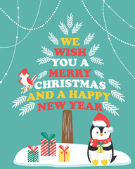 Christmas card with winter scene and holiday penguin.