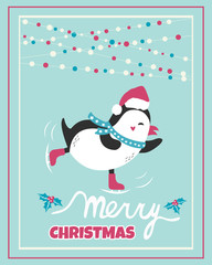 Christmas card with holiday penguin and decorations