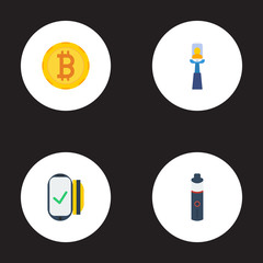 Flat Icons Stick, Money, Payment And Other Vector Elements. Set Of Trend Flat Icons Symbols Also Includes Photo, Vape, Card Objects.