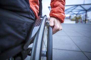 Person im Rollstuhl, Detailaufnahme