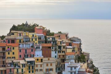 Colorful Houses of Manarola , La Spezia , Liguria , North italy , Italy