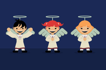 Three children dressed as angels. Christmas concept.