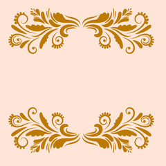 Gold ornamental greeting, congrats card with curly floral borders isolated on pink background. Vector illustration.