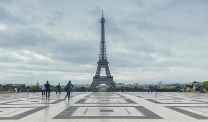 Eiffel Tower, Paris. View over the Tour Eiffel from Trocadero square (Place du Trocadero). Paris, France