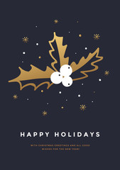 Merry Christmas greeting card set with cute xmas tree and snow-flakes. Decorative vector illustration for winter Happy holidays.