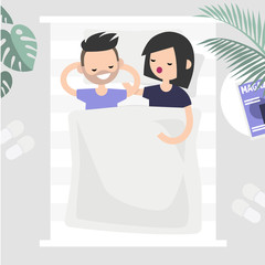 Adult relationships. Two characters sleeping together in one bed, above view image. Romantic love. Man and woman