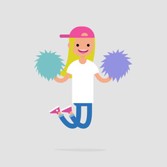Cheerleader girl jumping with the pompoms. Sport activities. Supporting the team. Young excited character celebrating the success. Flat editable vector illustration, clip art