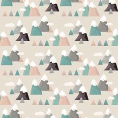 Mountain seamless pattern. Flat style cartoon Mountain.