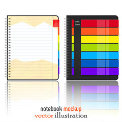 Rainbow notebook mokup isolated on white background. Bright notebook mock up for Your business project. Vector Illustration