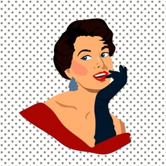 The beautiful retro young woman with gloves, vector illustration