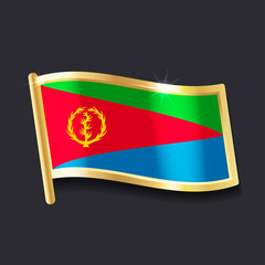 flag of Eritrea in the form of badge, flat image