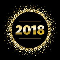 Round Black Gold Sparkle 2018 Vector Illustration 1