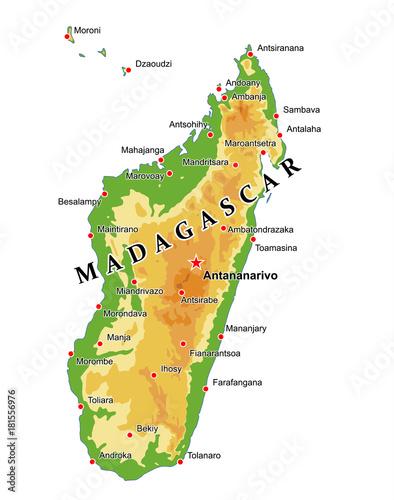 Physical Map Of Madagascar Physical map of Madagascar