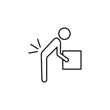 Person lifting a heavy object line icon. Insurance outline icon