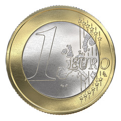 One Euro Coin. Front view, Isolated.  3d Render.