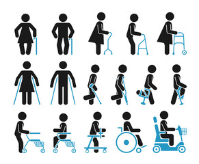 Pictograms that represent handicapped, elderly and injured people who use orthopedic accessories and wheel chair to help them move.