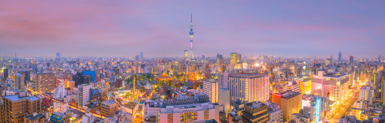 Türaufkleber Tokio Panorama shot of Tokyo city skyline