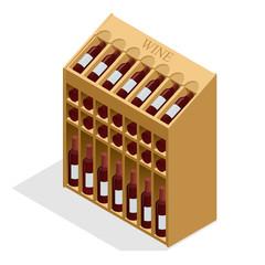Isometric Red wine bottles stacked on wooden racks. Vector illustration isolated on white background