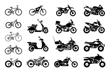 Collection of Motorcycles and bicycles icons.  Moto vehicles symbols vector stock illustration.