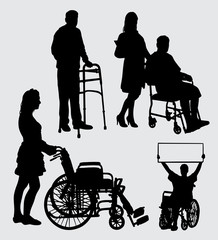 sick people and nurse silhouette. good use for symbol, logo, web icon, mascot, sticker, sign or any design you want.