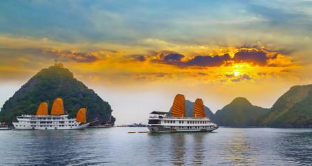 Tourist junks floating Ha Long Bay, South China Sea Vietnam