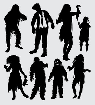 zombie male and female action silhouette. Good use for symbol, logo, web icon, mascot, sign, sticker or any design you want
