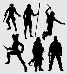 Hero people with weapon. Good use for symbol, logo, web icon, mascot, sticker, or any design you want.
