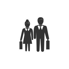 Pictogram of a businessman and a businesswoman icon. Business, human resource sign. Looking for talent. Search man vector icon. Job search icon