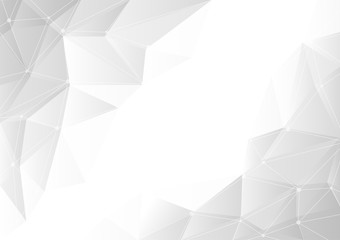 Abstract gray gradient geometric on white background with copy space, chaos of connected lines and dots. Vector illustration.