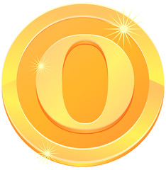 Gold coin with letter O design vector image