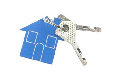 House shaped key chain isolated on white background