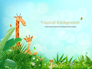 Tropical island spring of beautiful plants green and adstract bachgrounds.