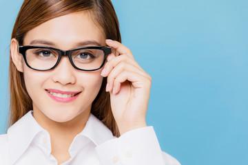 Young woman wearing eyeglasses.