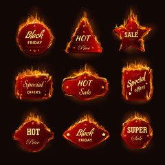 Hot sale burning fire flame black friday shop discount promo offer vector icons
