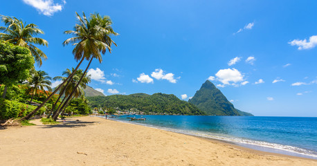 Wall Mural - Paradise beach at Soufriere Bay with view to Piton at small town Soufriere in Saint Lucia, Tropical Caribbean Island.